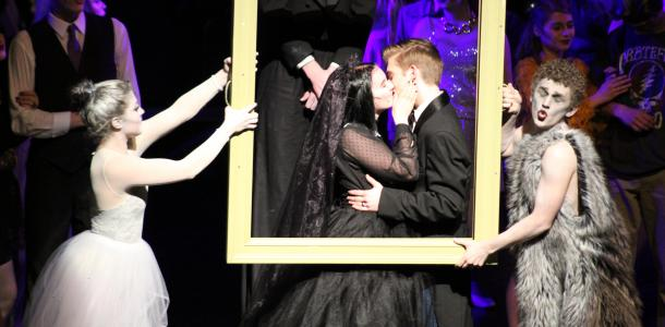 Wednesday Addams (junior Rebecca Benedict) and Lucas Beineke (junior Layton Gaskins) get their happy ending at the conclusion of the musical.