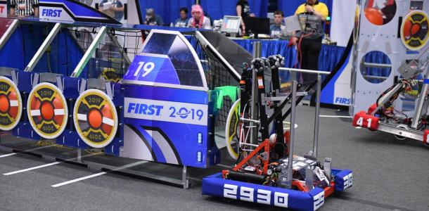 The Sonic Squirrel's robot as it competes in the district competition held at Glacier Peak